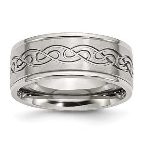 9mm Stainless Steel Scroll Design Ridged Edge Comfort Fit Band - The Black Bow Jewelry Co.