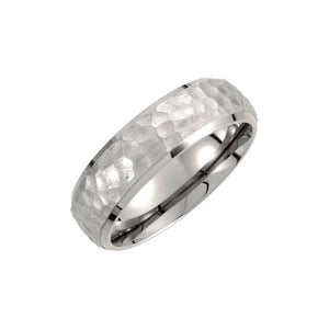 7mm Titanium Hammered Domed Comfort Fit Band - The Black Bow Jewelry Co.