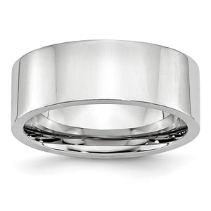8mm Cobalt Polished Flat Comfort Fit Band - The Black Bow Jewelry Co.