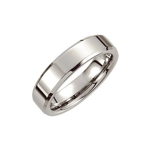 6mm Dura Cobalt Beveled Edge Polished Flat Comfort Fit Band - The Black Bow Jewelry Co.