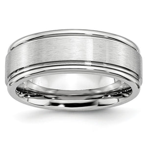 8mm Cobalt Satin Finish Ridged Edge Comfort Fit Band - The Black Bow Jewelry Co.