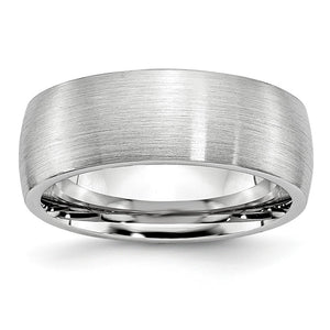 8mm Cobalt Slightly Domed Satin Comfort Fit Band - The Black Bow Jewelry Co.