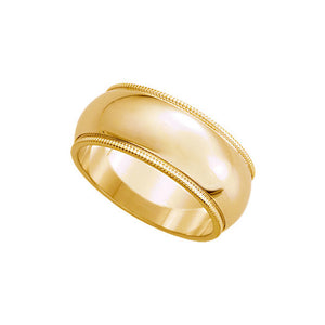 8mm Milgrain Edge Domed Band in 14k Yellow Gold - The Black Bow Jewelry Co.