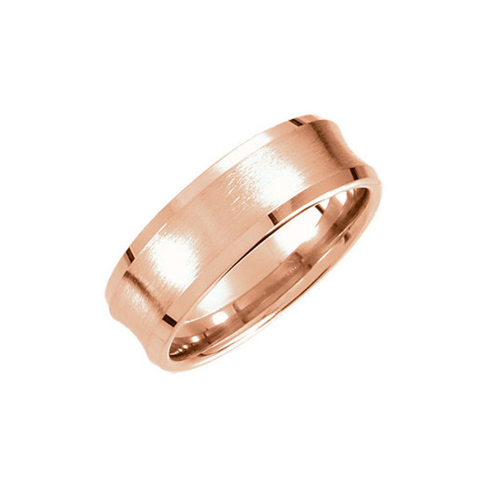 7.5mm Concaved Beveled Edge Comfort Fit Band in 14k Rose Gold - The Black Bow Jewelry Co.