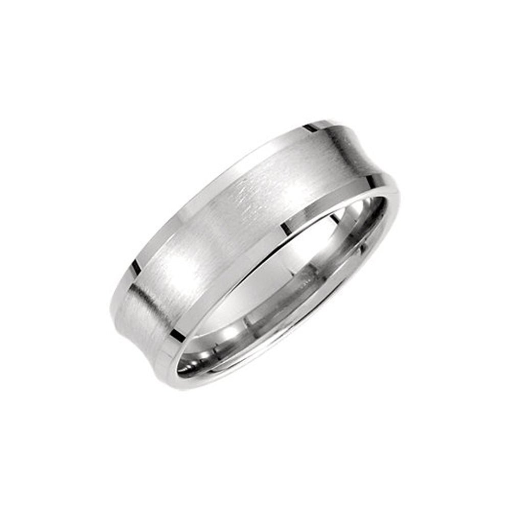 7.5mm Concaved Beveled Edge Comfort Fit Band in Platinum - The Black Bow Jewelry Co.