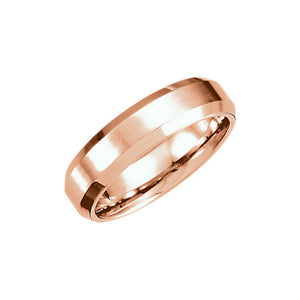 6mm Beveled Edge Satin Comfort Fit Band in 14k Rose Gold - The Black Bow Jewelry Co.