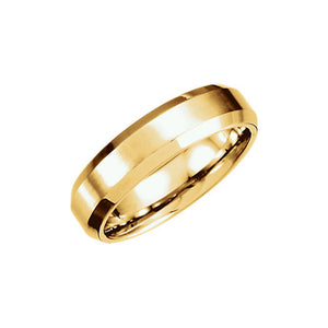 6mm Beveled Edge Satin Comfort Fit Band in 14k Yellow Gold - The Black Bow Jewelry Co.