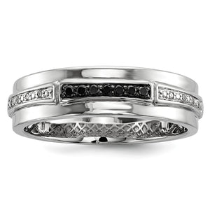 Men's 1/8 Cttw Black & White Diamond 6mm Band in Sterling Silver - The Black Bow Jewelry Co.