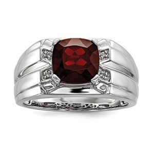 Cushion Cut Garnet & Diamond Tapered Ring in Sterling Silver - The Black Bow Jewelry Co.