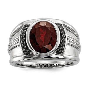 Mens Two Tone Sterling Silver, Oval Garnet & Diamond Wide Tapered Ring - The Black Bow Jewelry Co.