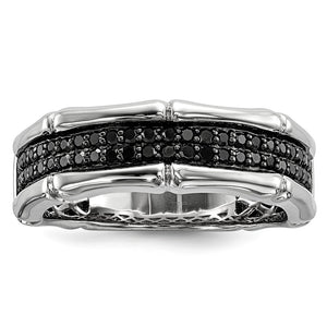 3/8 Cttw Black Diamond 7mm Men's Band in Sterling Silver - The Black Bow Jewelry Co.