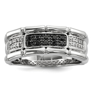 Men's 1/4 Cttw Black & White Diamond 8mm Band in Sterling Silver - The Black Bow Jewelry Co.