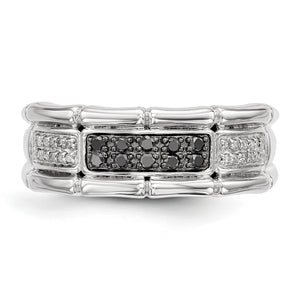 Alternate view of the Men's 1/4 Cttw Black & White Diamond 8mm Band in Sterling Silver by The Black Bow Jewelry Co.