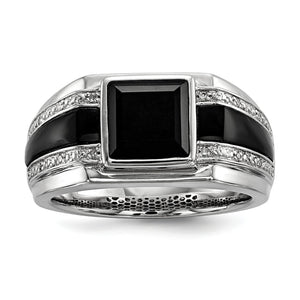 Mens White Diamond & Black Onyx 11.5mm Tapered Band in Sterling Silver - The Black Bow Jewelry Co.