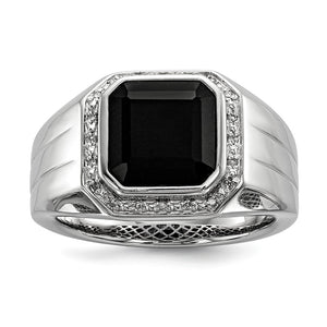 Diamond & Black Onyx Octagon 16mm Tapered Ring in Sterling Silver - The Black Bow Jewelry Co.