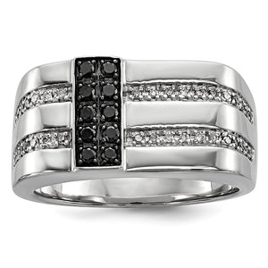 Mens Sterling Silver 1/2 Ctw White & Black Diamond Flat Top 11mm Band - The Black Bow Jewelry Co.
