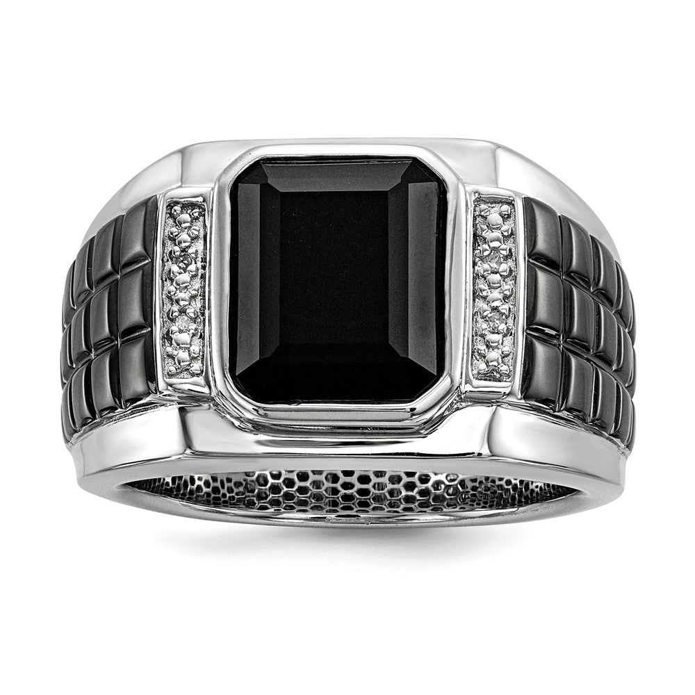 Diamond & Black Onyx 14mm Tapered Two Tone Sterling Silver Ring - The Black Bow Jewelry Co.