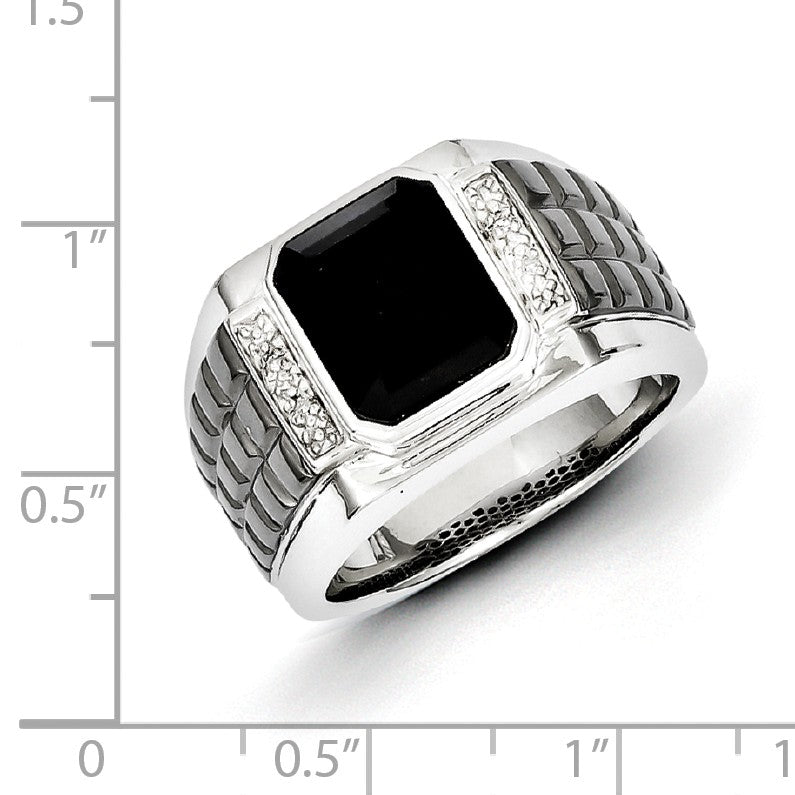 Alternate view of the Diamond & Black Onyx 14mm Tapered Two Tone Sterling Silver Ring by The Black Bow Jewelry Co.