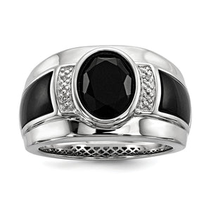 Diamond & Oval Black Onyx 13mm Tapered Ring in Sterling Silver - The Black Bow Jewelry Co.