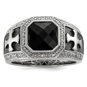 Black Onyx & Diamond Octagon & Cross Tapered Ring in Sterling Silver - The Black Bow Jewelry Co.
