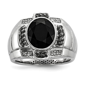 Oval Black Onyx & Diamond Two Tone Sterling Silver Tapered Ring - The Black Bow Jewelry Co.