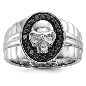 3/8 Ctw Black Diamond Oval Skull Sterling Silver Tapered Ring - The Black Bow Jewelry Co.