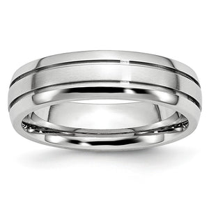 6mm Cobalt Polished & Satin Double Grooved Comfort Fit Band - The Black Bow Jewelry Co.