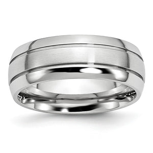 8mm Cobalt Polished & Satin Double Grooved Comfort Fit Band - The Black Bow Jewelry Co.