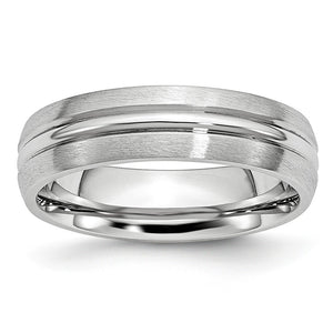 6mm Cobalt Satin & Polished Grooved Comfort Fit Band - The Black Bow Jewelry Co.