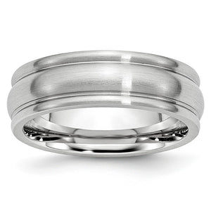 7mm Cobalt Satin & Polished Rounded Edge Comfort Fit Band - The Black Bow Jewelry Co.