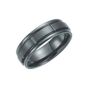 7mm Black Titanium Grooved Comfort Fit Band - The Black Bow Jewelry Co.
