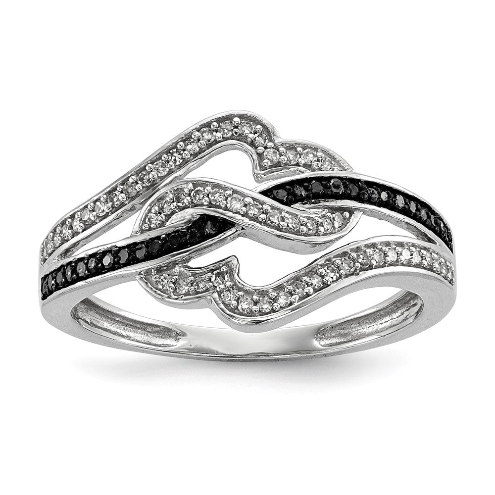 1/4 Ctw Black & White Diamond Twisted Hearts Ring in Sterling Silver - The Black Bow Jewelry Co.