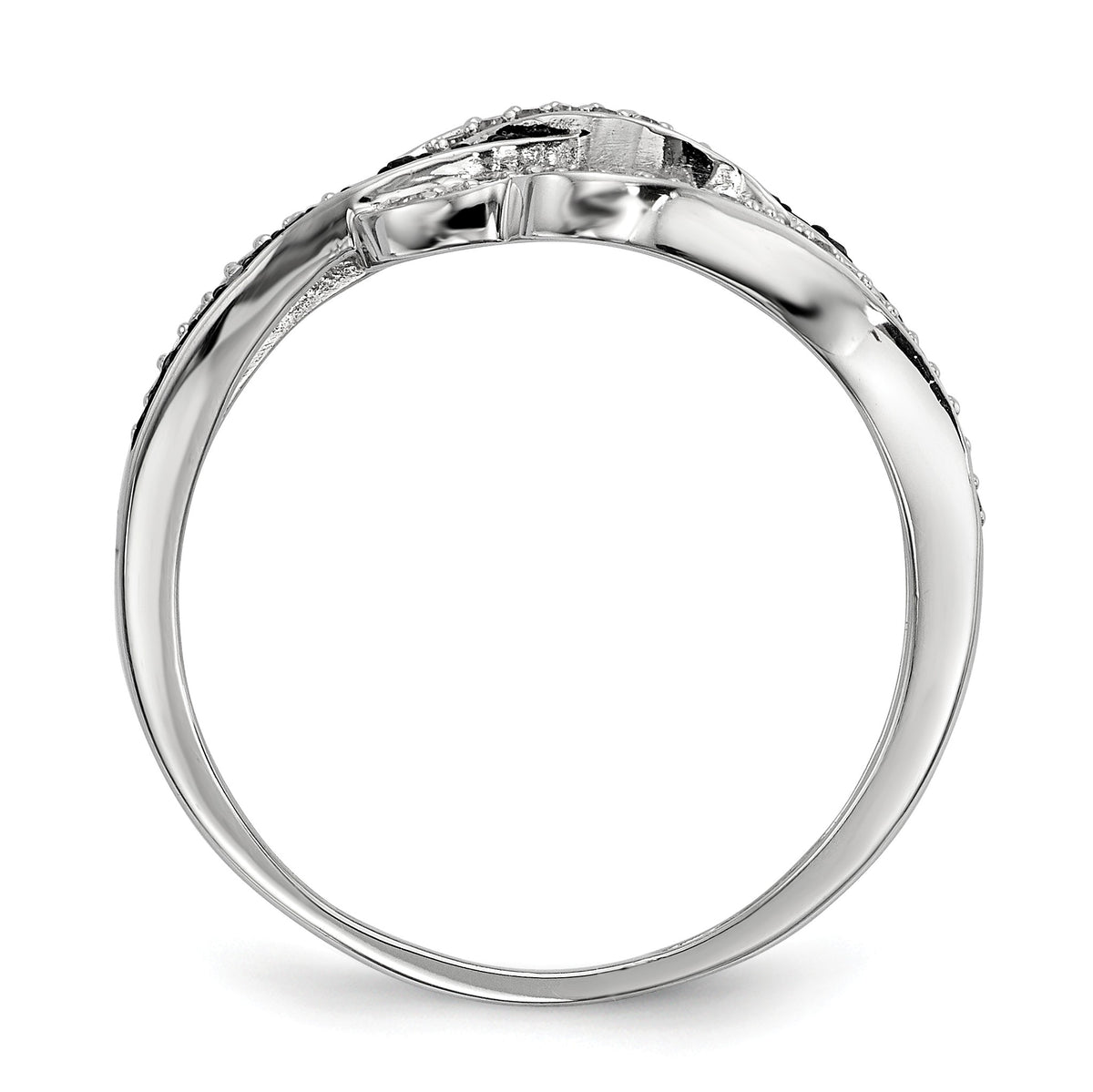 Alternate view of the 1/4 Ctw Black & White Diamond Twisted Hearts Ring in Sterling Silver by The Black Bow Jewelry Co.