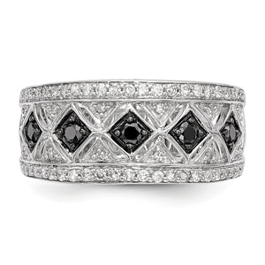 1/2 Ctw Black & White Diamond 9mm Tapered Ring in Sterling Silver