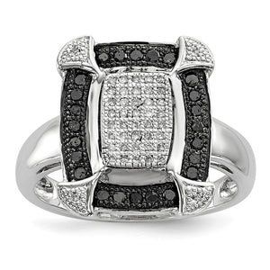 1/3 Ctw Black & White Diamond Rectangle Ring in Sterling Silver - The Black Bow Jewelry Co.