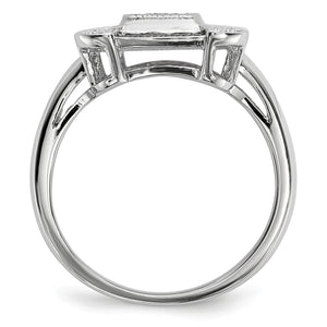 Alternate view of the 1/3 Ctw Black & White Diamond Rectangle Ring in Sterling Silver by The Black Bow Jewelry Co.