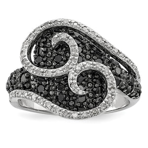 1 Ctw Black & White Diamond 18mm Swirl Ring in Sterling Silver - The Black Bow Jewelry Co.