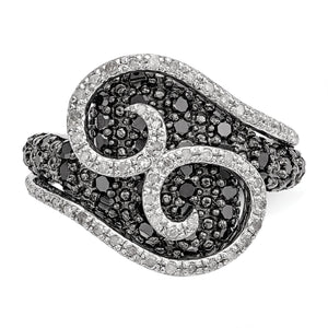 1 Ctw Black & White Diamond 18mm Swirl Ring in Sterling Silver