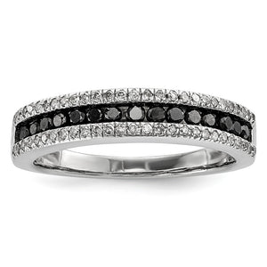 1/2 Ctw Black & White Diamond 4mm Tapered Sterling Silver Ring - The Black Bow Jewelry Co.