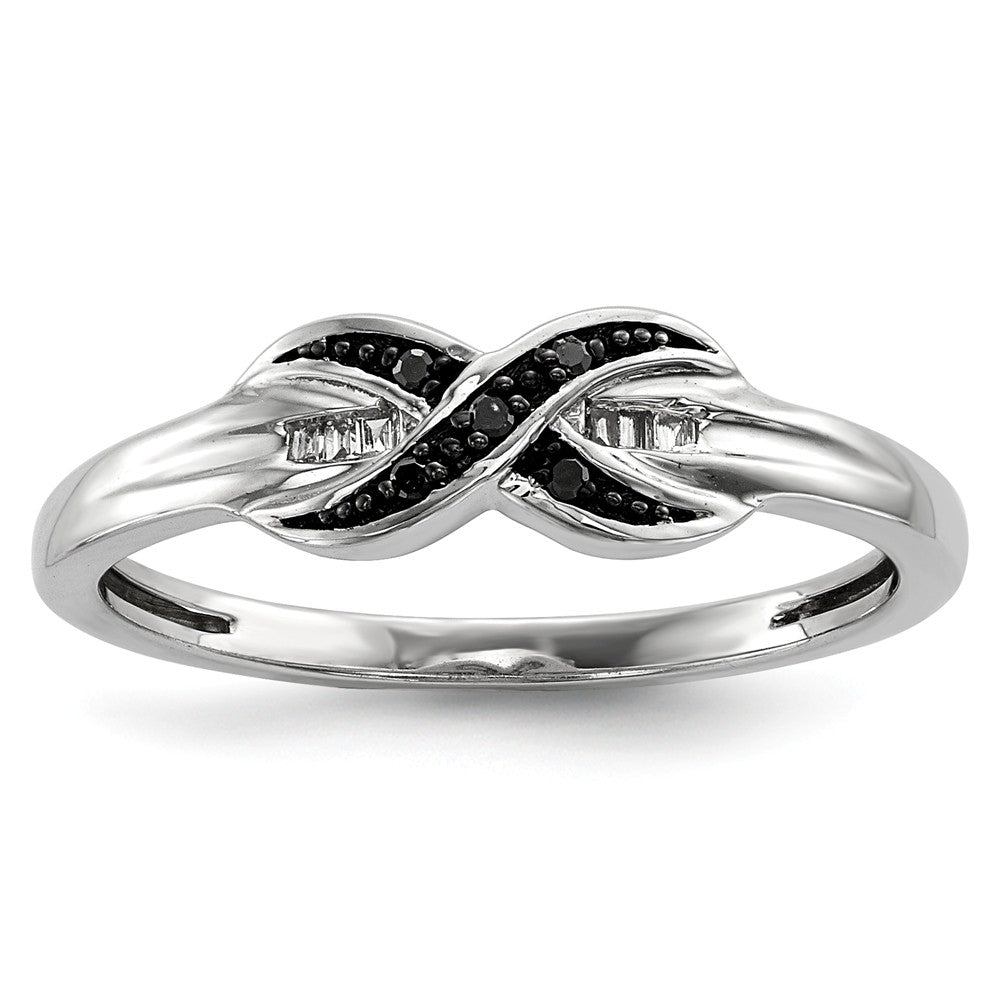 1/20 Ctw Black & White Diamond X Ring in Sterling Silver - The Black Bow Jewelry Co.