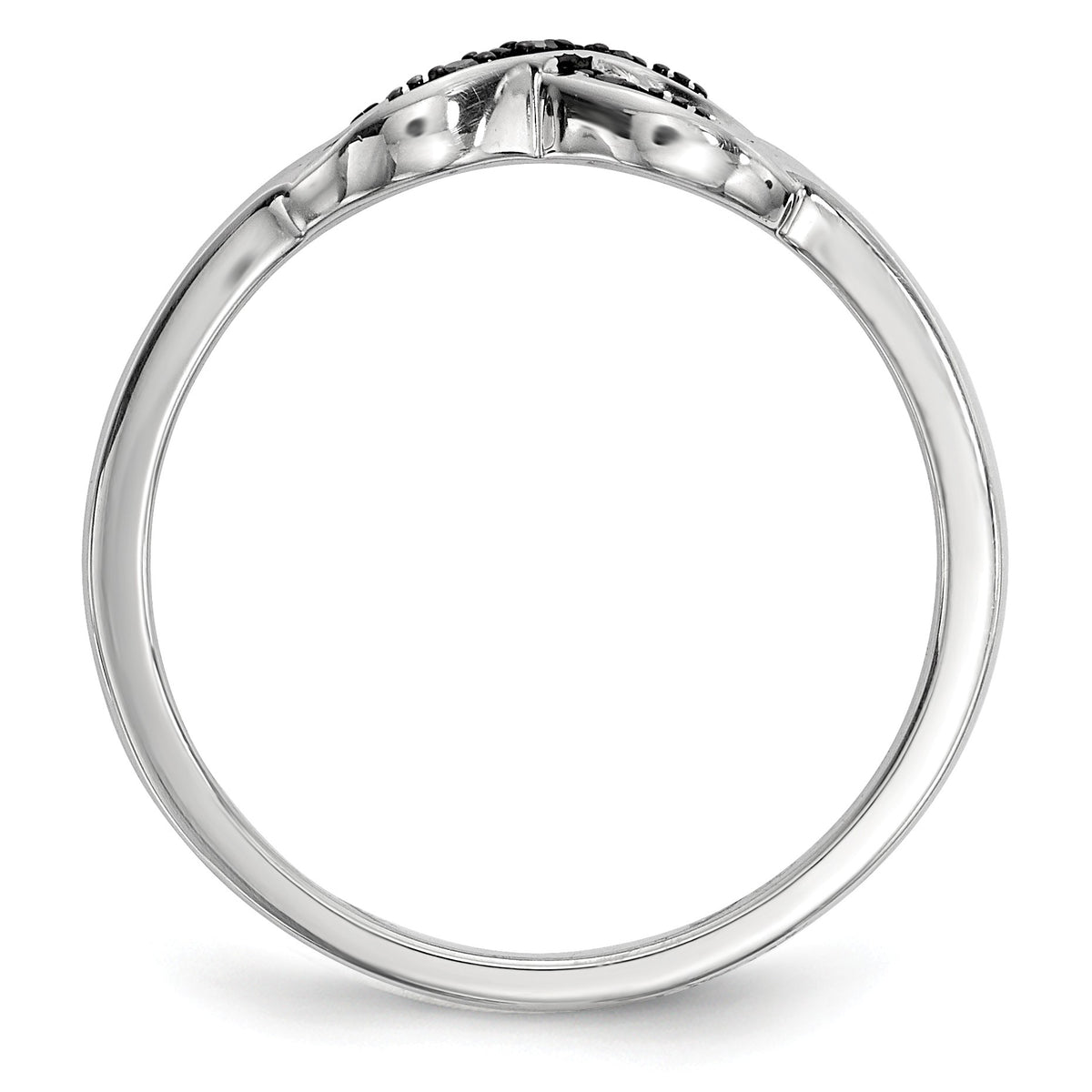 Alternate view of the 1/20 Ctw Black & White Diamond X Ring in Sterling Silver by The Black Bow Jewelry Co.