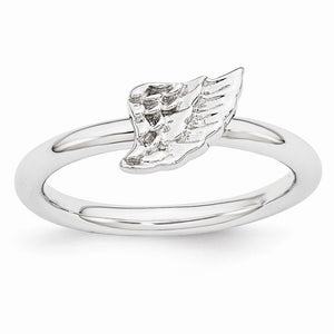 Rhodium Plated Sterling Silver Stackable 6mm Angel Wing Ring - The Black Bow Jewelry Co.