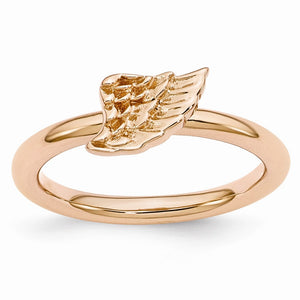 Rose Gold Tone Plated Sterling Silver Stackable 6mm Angel Wing Ring - The Black Bow Jewelry Co.