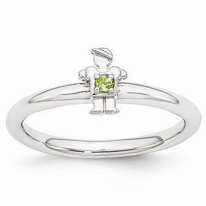 Rhodium Plated Sterling Silver Stackable Peridot 7mm Boy Ring - The Black Bow Jewelry Co.