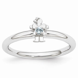 Rhodium Plated Sterling Silver Stackable Aquamarine 7mm Girl Ring - The Black Bow Jewelry Co.