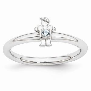 Rhodium Plated Sterling Silver Stackable Aquamarine 7mm Boy Ring - The Black Bow Jewelry Co.