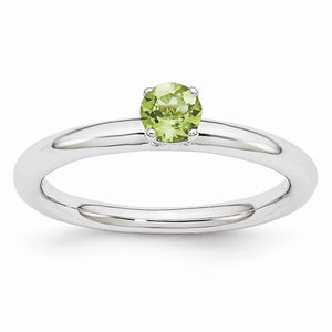 Rhodium Plated Sterling Silver Stackable 4mm Round Peridot Ring - The Black Bow Jewelry Co.