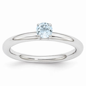 Rhodium Plated Sterling Silver Stackable 4mm Round Aquamarine Ring - The Black Bow Jewelry Co.