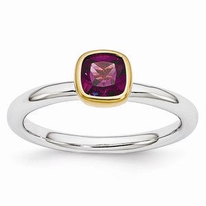 Two Tone Sterling Silver Stackable 5mm Cushion Rhodolite Garnet Ring - The Black Bow Jewelry Co.
