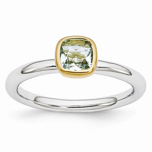 Two Tone Sterling Silver Stackable 5mm Cushion Aquamarine Ring - The Black Bow Jewelry Co.